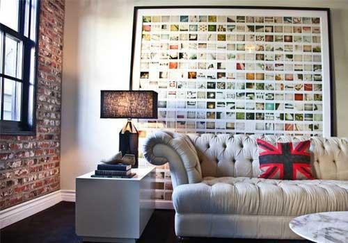 照片墙用绳子,灯带或铁丝等悬挂起来,看起来是不是更